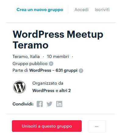 WP Meetup Teramo: unisciti alle riunioni della community small