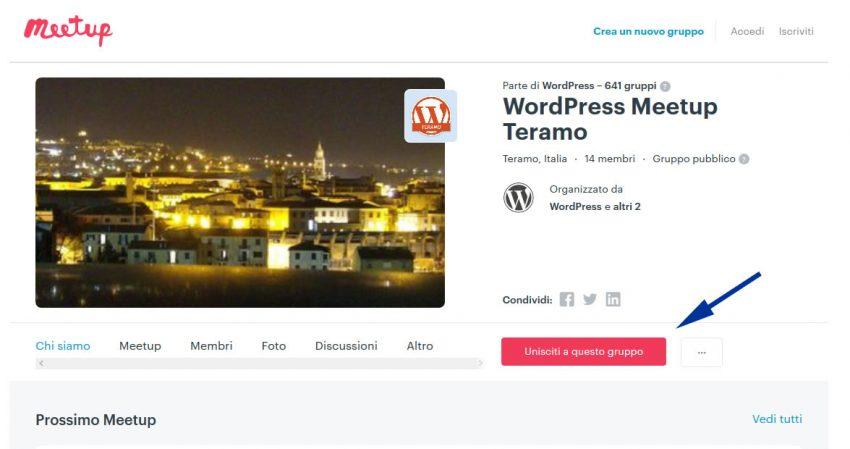 Manuale iscrizione gratuita al WordPress Meetup di Teramo parte 02