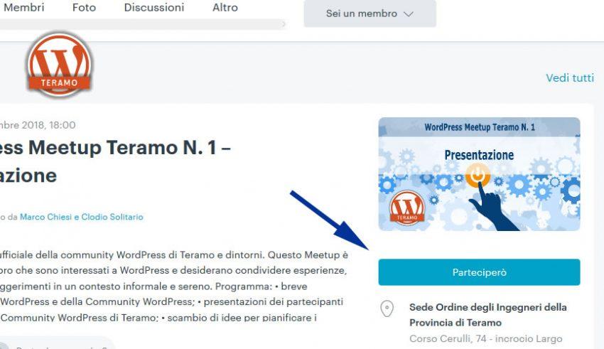 Manuale iscrizione gratuita al WordPress Meetup di Teramo parte 14