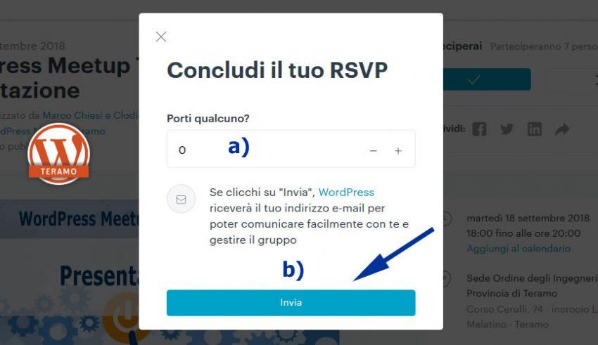 Manuale iscrizione gratuita al WordPress Meetup di Teramo parte 15