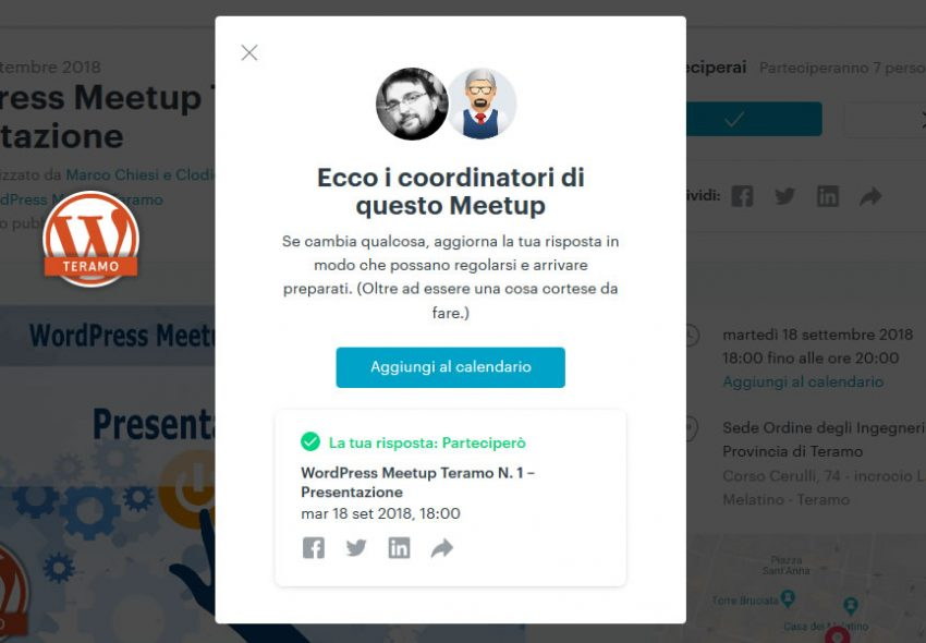 Manuale iscrizione gratuita al WordPress Meetup di Teramo parte 16