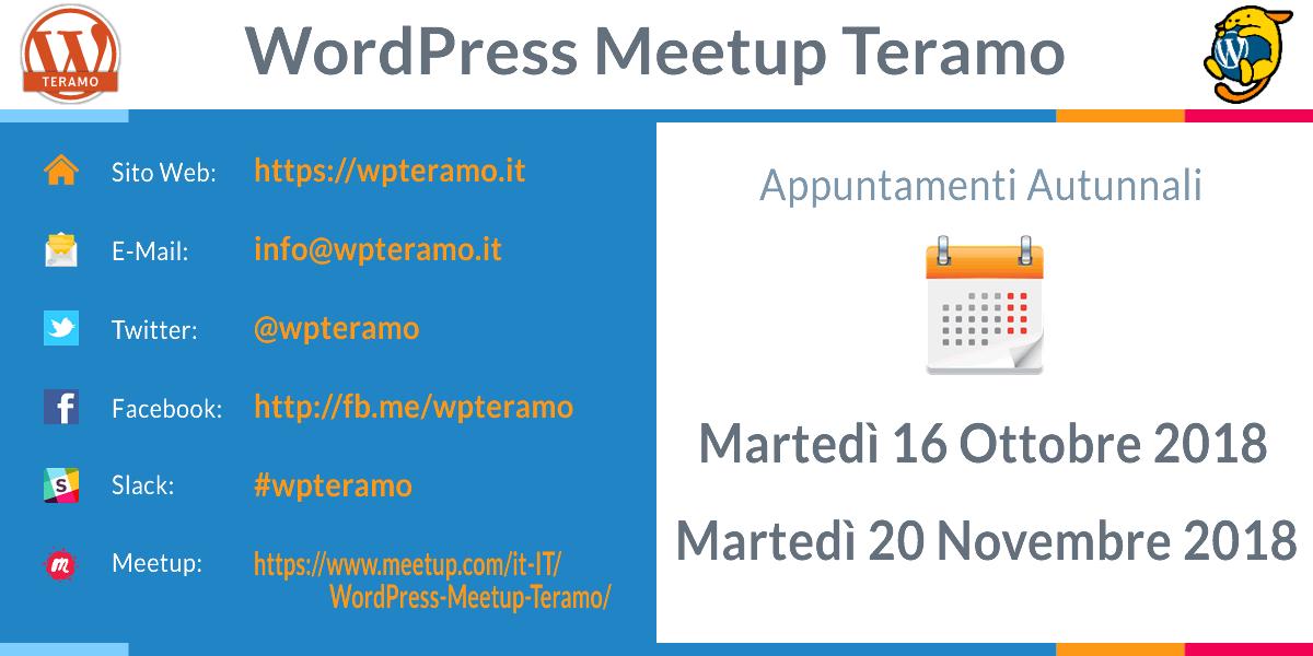 WordPress Meetup Teramo le date della stagione autunnale 2018