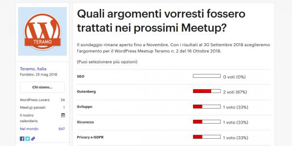 WordPress Meetup Teramo le date della stagione autunnale 2018 - sondaggio