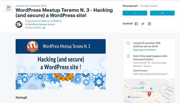 Come mettere in sicurezza un sito WordPress: iscriviti e partecipa al WordPress Meetup Teramo N. 3