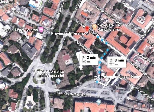 WP Teramo location 02 Mappa percorso a piedi Piazza Dante Via Milli
