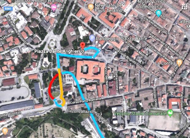 WP Teramo location 03 Mappa in auto a Piazza Dante da Superstrada Teramo-Mare