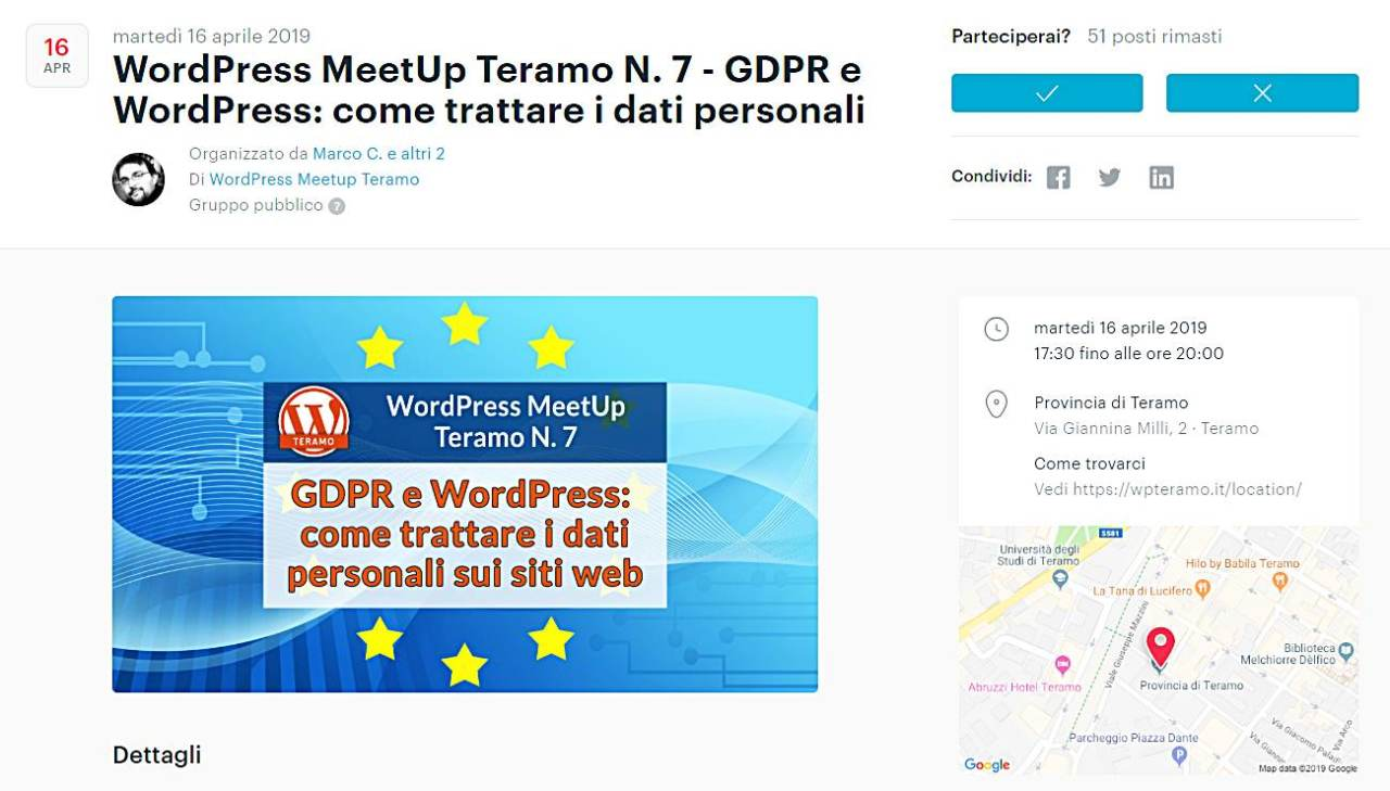 GDPR e WordPress: come trattare i dati personali sui siti web, screenshot pagina evento su MeetUp . com
