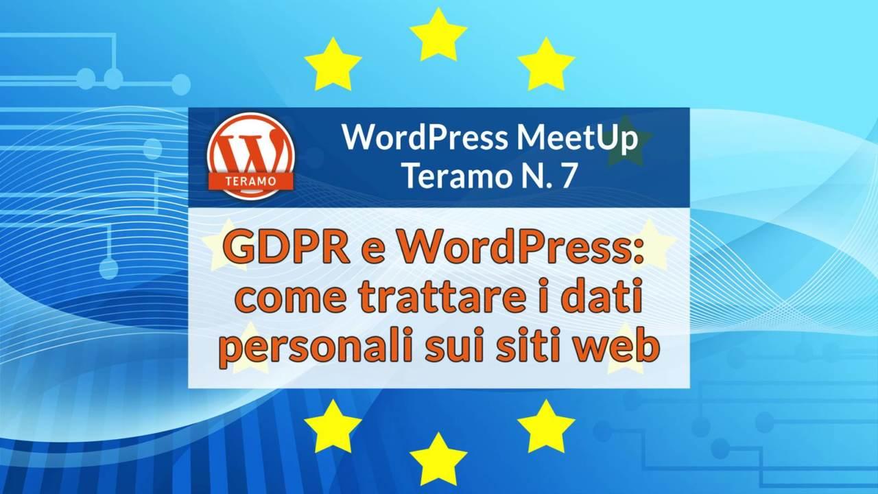 GDPR e WordPress: come trattare i dati personali sui siti web, titolo su sfondo astratto con 12 stelle della bandiera europea