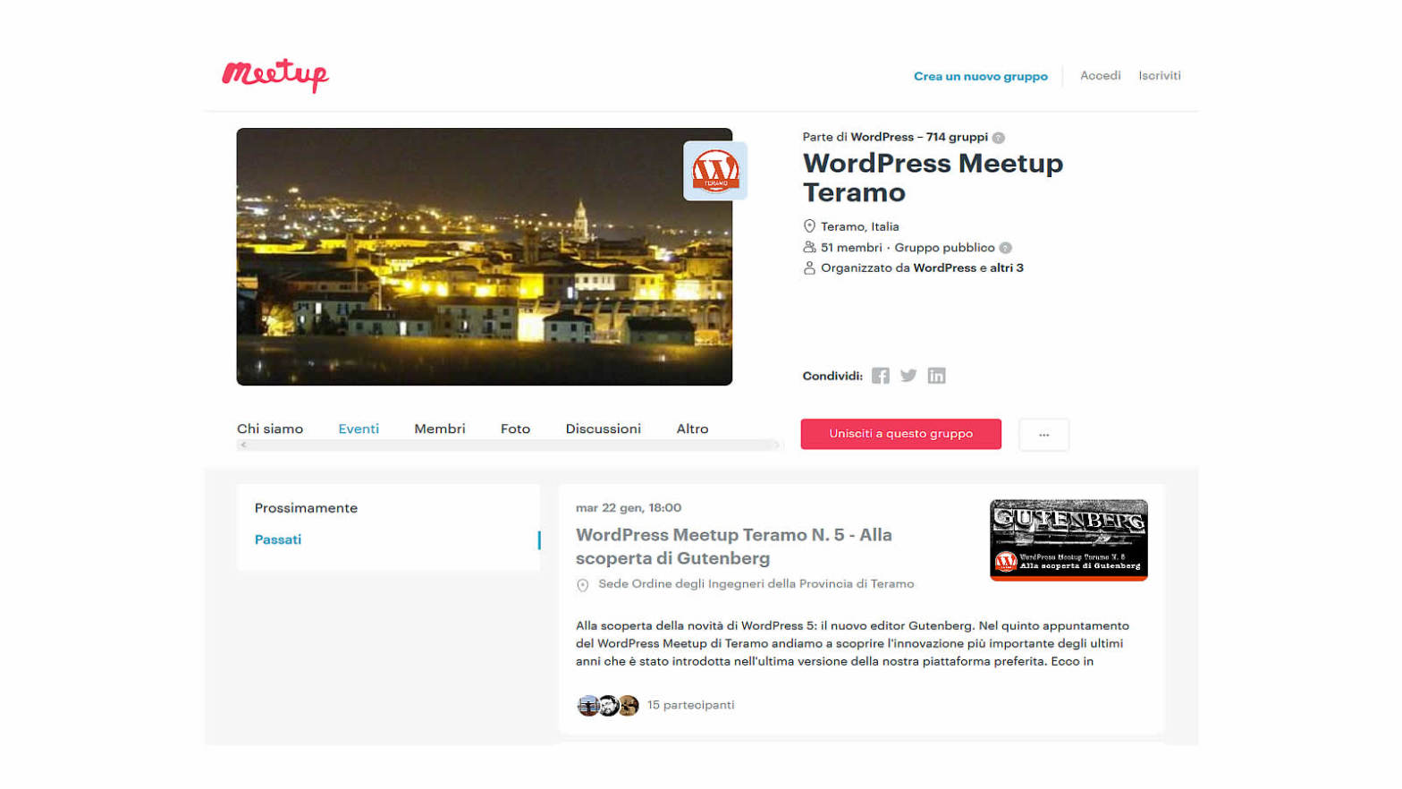 Manuale iscrizione gratuita al WordPress Meetup di Teramo header