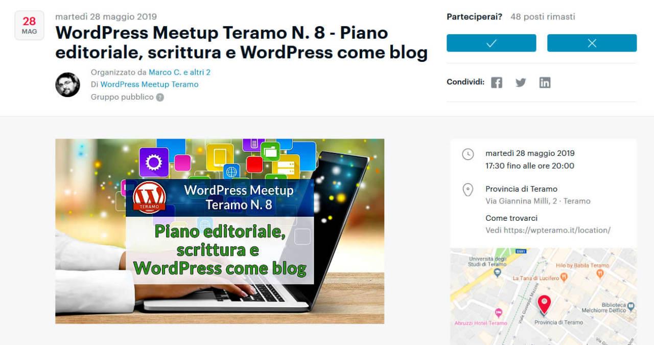 Piano editoriale, scrittura e WordPress come Blog - schermata dell'articolo per iscriversi e partecipare gratuitamente all'evento