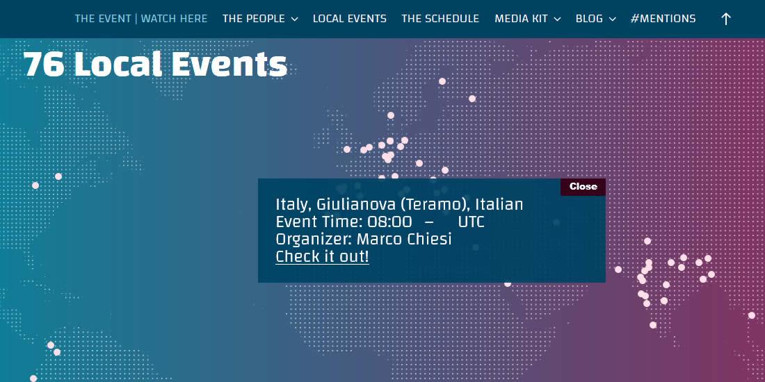 WP Translation Day 4 oggi traduciamo WordPress - mappa dei 76 eventi locali con evidenziato Giulianova (Teramo)