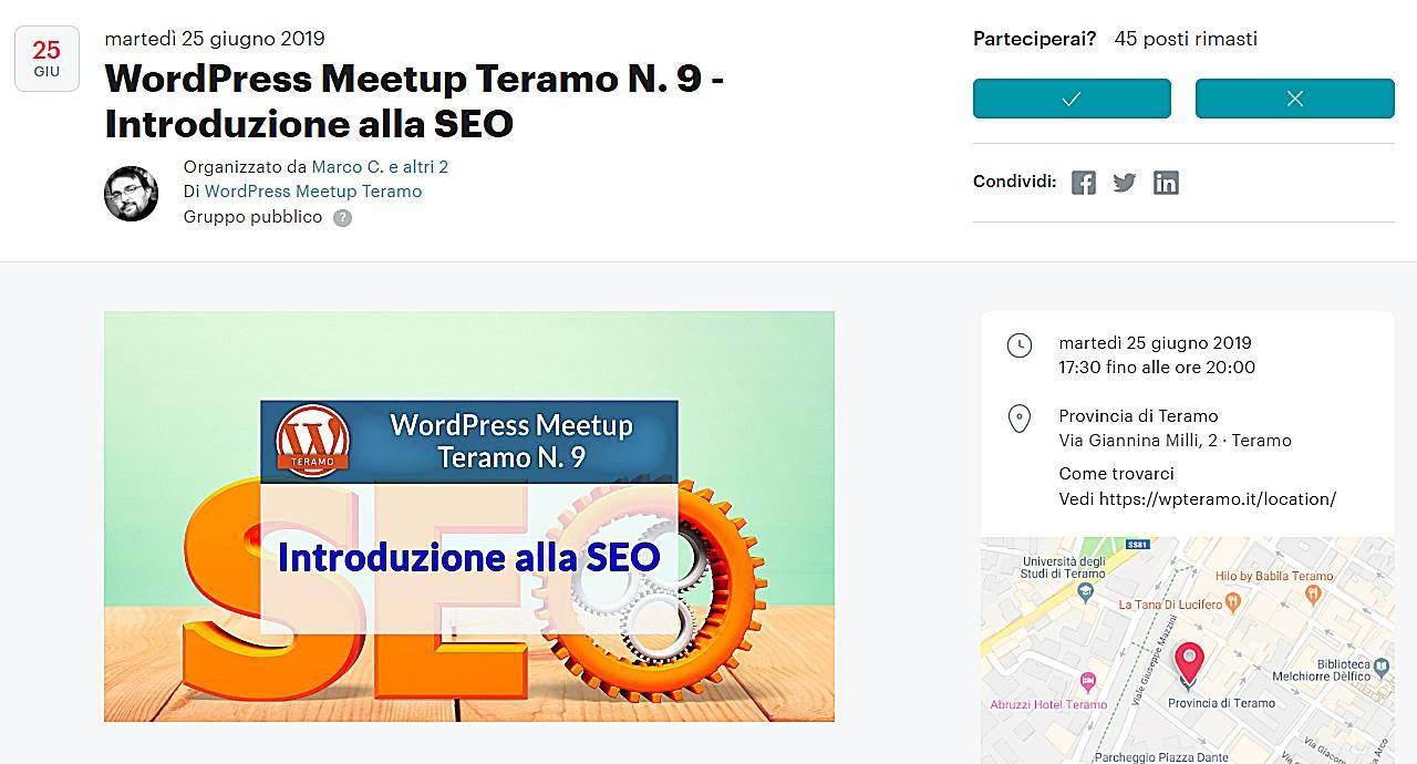 Introduzione alla SEO, Search Engine Optimization, schermata dell'articolo per iscriversi e partecipare gratis